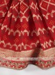 Red color banarasi silk bandhani saree