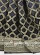 Grey and black color chiffon saree
