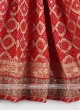 Red color khadi silk saree with matching blouse