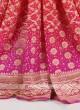 Tomato red and pink chiffon saree