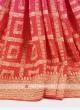 Hot pink and orange color chiffon saree