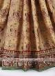 Beige and maroon color gajji silk saree.