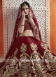 Maroon Heavy Embroidered Bridal Lehenga