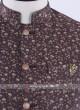 Brown color printed nehru jacket
