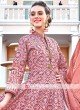 Coral And Brown Colour anarkali Suit With Dupatta