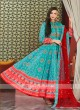 Sky blue and Red anarkali Suit With Dupatta