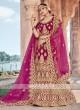 Bridal Velvet Lehenga Choli In Rani