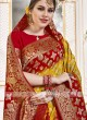 Viscose Saree In Red And Yellow