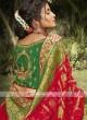 Red & Green Silk Saree