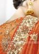 Orange and Golden Shaded Lehenga Saree