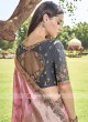 Pink and Grey Designer Half n Half Saree
