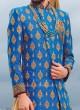 Blue Designer Long Koti With Golden Kurta and Bottom