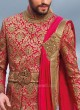 Deep Pink and Golden Indo Western With Dupatta