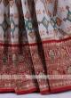 Patola Print Cream And Maroon Saree