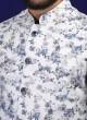 White Printed Nehru Jacket