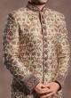 Raw Silk Fabric Cutdana Work Sherwani