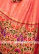 Peach And Red Color Silk Lehenga Choli