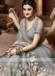 Designer Net Saree In Grey