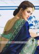 Dark Blue Heavy Border Work Sari