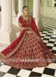 Red Embroidered Velvet Lehenga