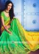 Yellow and Green Half Saree