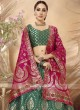 Green Jacquard Semi Stitched Lehenga Choli