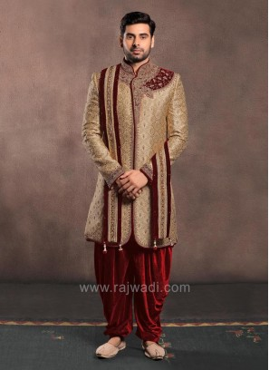 Golden Color Jacquard Silk Zardozi Work Sherwani