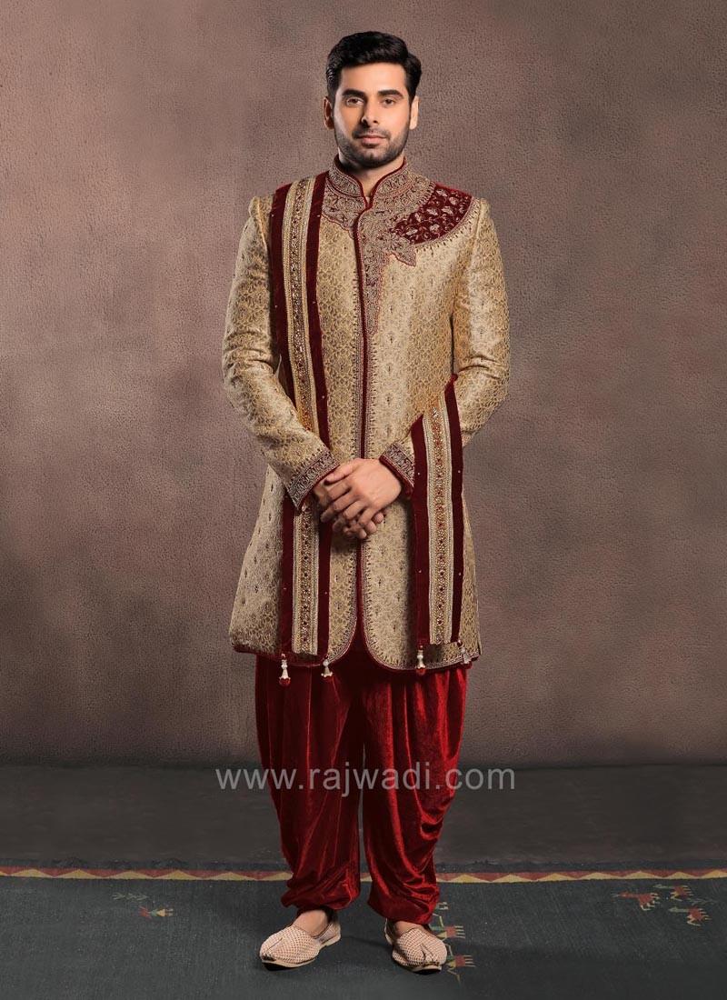 Golden Color Jacquard Silk Zardozi Work Sherwani