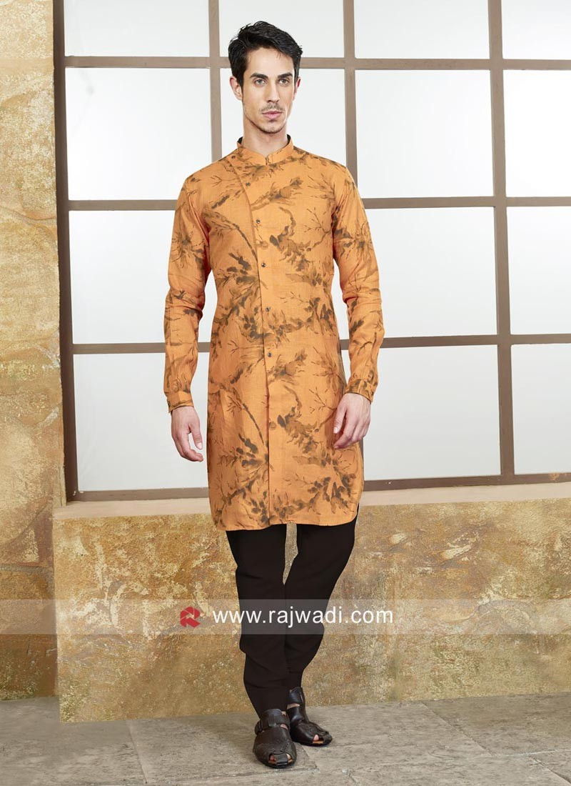Long Sleeve Cotton Silk Fabric Kurta Set
