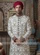 Off White Zardozi Work Sherwani