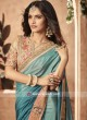 Blue Shaded Patch Work Saree