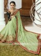 Pista Green Embroidered Sari with Blouse
