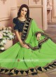 Pista Green Saree with Designer Border