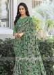 Printed Sari with Plain Blouse