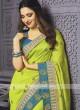 Art Silk Parrot Green Designer Saree