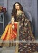 Half And Half Flower Printed Designer Saree
