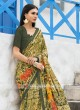 Multi Floral Print Saree with Plain Blouse