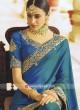 Peacock Blue Satin Silk Saree