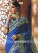 Peacock Blue Flower Work Saree
