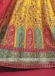 Silk Lehenga Choli In Yellow And Rama Green