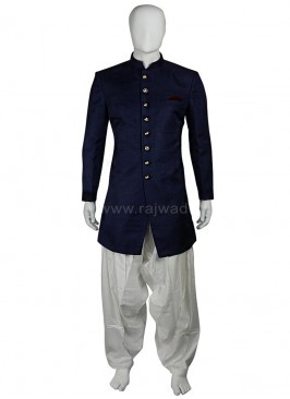 Art Silk Navy Patiala Suit