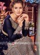Semi Stitched Salwar Suit in Navy Blue