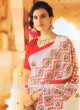 Off White Saree with Red Blouse