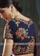 Giselli Monteiro Navy Blue Floral Embroidered Lehenga Set