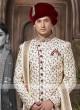Cream And Maroon Colour Sherwani