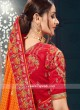 Orange Bhagalpuri Silk Saree