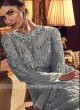 Designer grey color net salwar suit