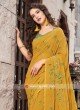 Mustard Yellow Printed Casual Saree