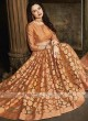 Tissue brasso saree in peach color