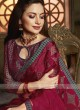 Tissue brasso saree in maroon color